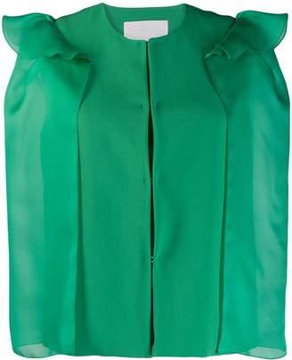 Genny ruffle shoulder cropped blazer