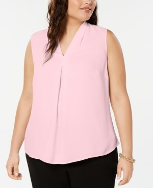 Bar III Plus Size Inverted-Pleat Top, Created for Macy's