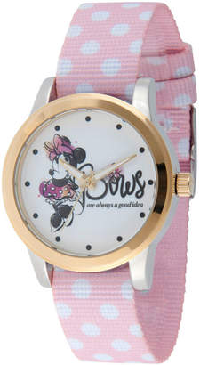 DISNEY MINNIE MOUSE Disney Minnie Mouse Womens Pink Strap Watch-Wds000259