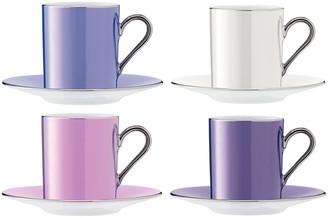 LSA International Polka Assorted Coffee Cups & Saucers - Set of 4 - Pastel