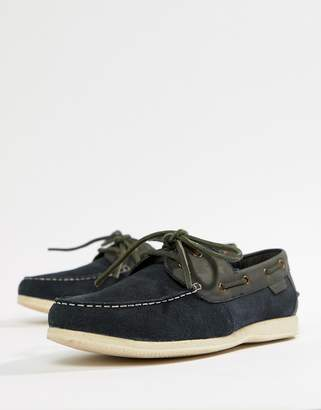 Ben Sherman Boat Shoes In Navy Leather