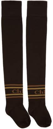 Chloé Brown Thigh-High Logo Socks