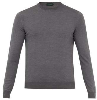 Zanone Crew Neck Flex Wool Knit Sweater - Mens - Charcoal