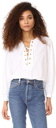 Mes Demoiselles Kasu Lace Up Blouse $198 thestylecure.com