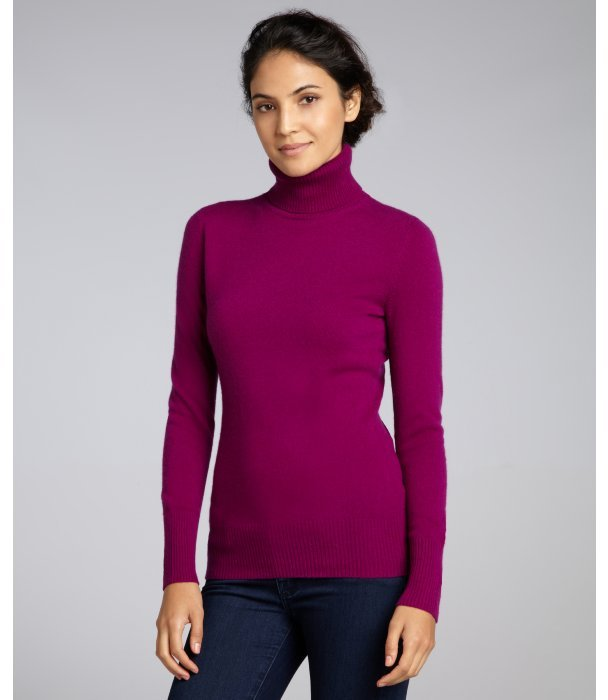 Hayden dark orchid cashmere basic turtleneck sweater