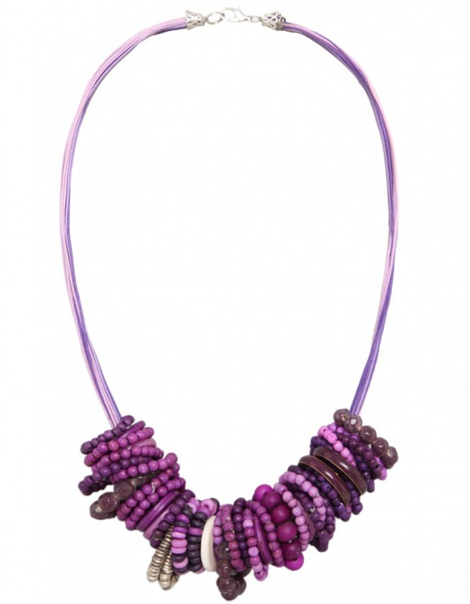 Mixes Necklace   Women's Beaded Purple Necklace