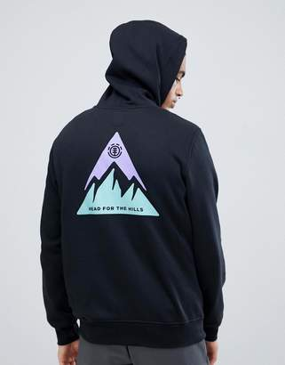 Element Delta Hoodie With Back Print In Black