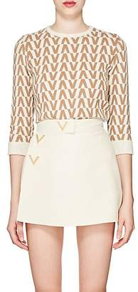 Valentino Women's V-Pattern Wool-Cashmere Sweater - Ivorybone