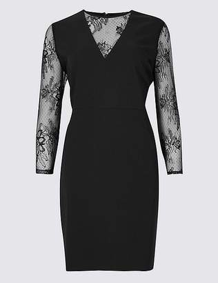 Marks and Spencer Lace Insert 3/4 Sleeve Bodycon Mini Dress