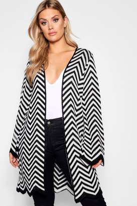 boohoo Plus Chevron Knit Longline Cardigan
