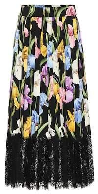Dolce & Gabbana Floral stretch silk charmeuse skirt