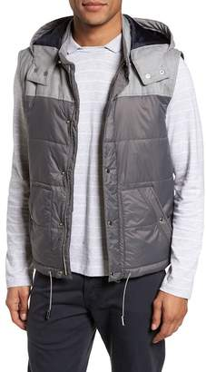 Eleventy Mixed Media Quilted Vest with Hood