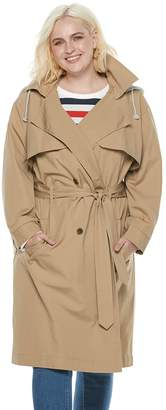 Popsugar Plus Size POPSUGAR Hooded Chambray Trench Coat