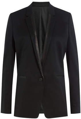The Kooples Wool Blazer with Leather Trim