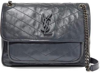 Saint Laurent Niki Medium Quilted Crinkled Glossed-leather Shoulder Bag - Gray