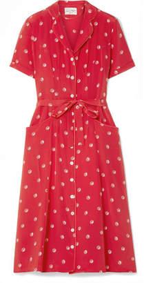 DAY Birger et Mikkelsen HVN Maria Printed Silk Crepe De Chine Midi Dress - Red