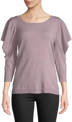 Love Scarlett Puff-Shoulder Slit-Sleeve Sweater