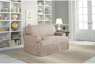 Serta Twill T-Cushion Loveseat Slipcover