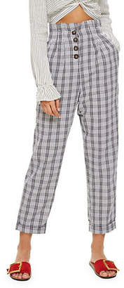 Topshop TALL Check Button Peg Trousers