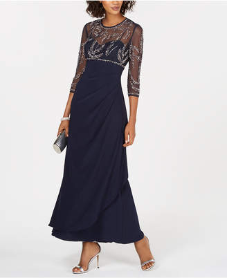 Betsy & Adam Petite Beaded Ruched Gown
