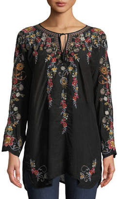 Johnny Was Autumn Bloom Tie-Neck Embroidered Tunic, Plus Size