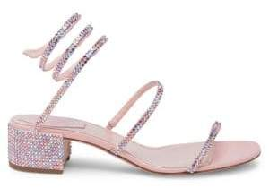 Rene Caovilla Pink Crystal Ankle Wrap Sandals