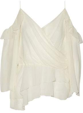 Rachel Zoe Renee Cold-Shoulder Wrap-Effect Silk-Georgette Blouse