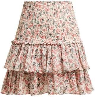 Isabel Marant Ãtoile Atoile - Naomi Floral Print Cotton Mini Skirt - Womens - White Multi