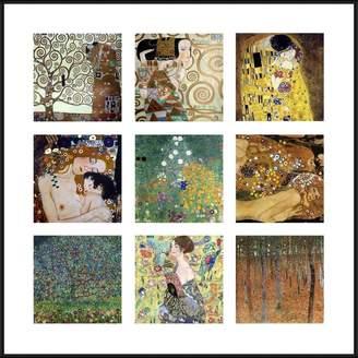 "Gustav Alonline Art - Kiss Lady Fan Trees Collage 9 Klimt Black Aluminum FRAMED POSTER (Print on 100% Cotton CANVAS on foam board) - READY TO HANG   20""x20""   Framed Print Giclee Framed Decor"