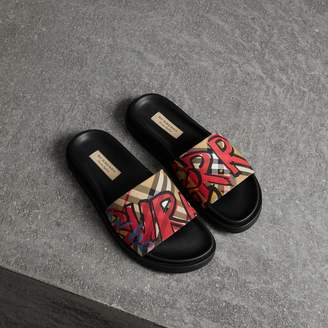 Burberry Graffiti Print Vintage Check and Leather Slides