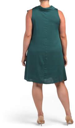 Plus Satin Swing Dress With Bow Collar