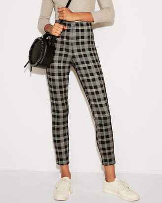 Express High Waisted Cropped Plaid Pull-On Leggings