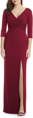 After Six Crisscross Stretch Crepe Evening Gown