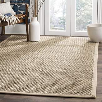 Safavieh Natural Fiber Collection NF114A Basketweave Natural and Beige Summer Seagrass Area Rug (3' x 5')