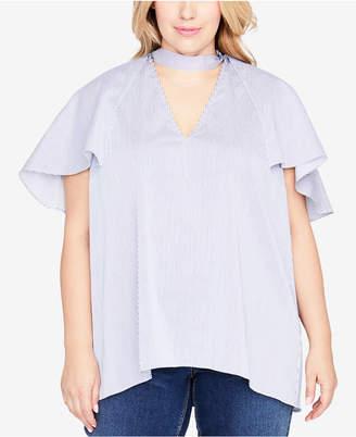 Rachel Roy Trendy Plus Size Ruffled Choker Top