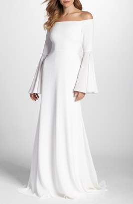 Joanna August Bowie Off the Shoulder Bell Sleeve Gown