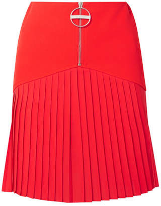 Givenchy Pleated Silk-blend Chiffon-trimmed Wool Mini Skirt - Red
