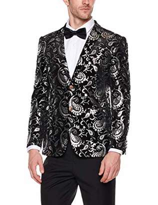 AUSTIN MILL Mens Stylish Paisley Floral Blazer 2 Button Slim Fit Party Tuxedos Suit