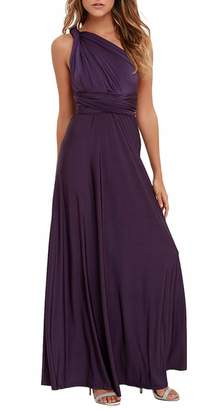 Sexyshine Women's Infinity Backless Gown Dress Multi-way Wrap Halter Cocktail Dress Bandage Bridesmaid Long Dress (GR,S)