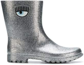 Chiara Ferragni glitter eye logo boots