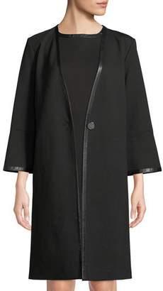 Misook Bracelet-Sleeve One-Button Long Jacket
