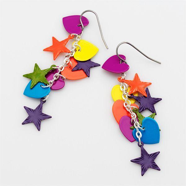 So® Silver-Tone Star & Heart Drop Earrings