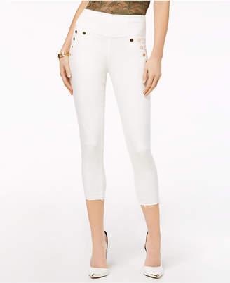 GUESS High-Waist Button-Detail Capri Jeans