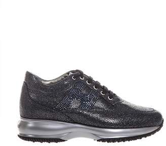 Hogan Blue Interactive Shoes In Textured Leather & Rhinestone