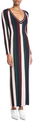 Gabriela Hearst Almeida V-Neck Long-Sleeve Vertical Stripe Ankle-Length Wool Dress