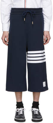Thom Browne Navy Oversized 4-Bar Sweat Shorts