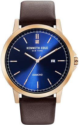 Kenneth Cole New York Men Diamond-Accent Black Leather Strap Watch 44mm