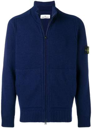Stone Island logo patch zipped cardigan