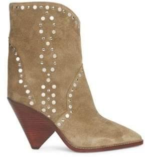 Isabel Marant Lamsen Embellished Suede Mid-Calf Boots