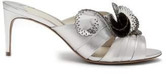 Sophia Webster Soleil Laser Cut Ruffle Leather Mules - Womens - Silver